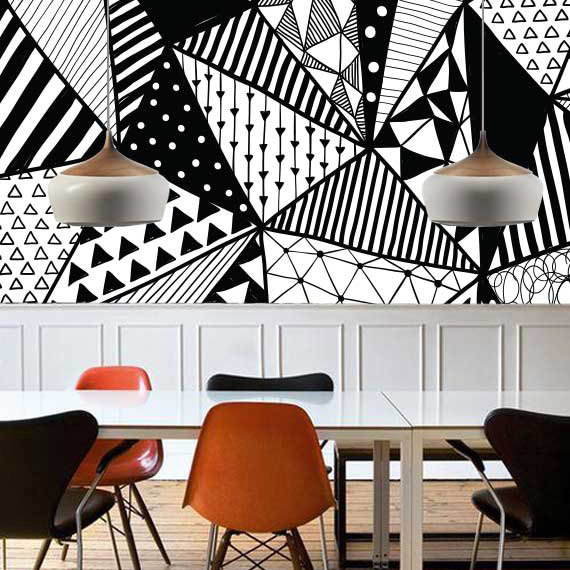 Image of Best Nursery Wallpaper - Wall Plays Retro Triangle Pattern Fabric Wallpaper - Mama Bird Box - Gifts for Pregnancy